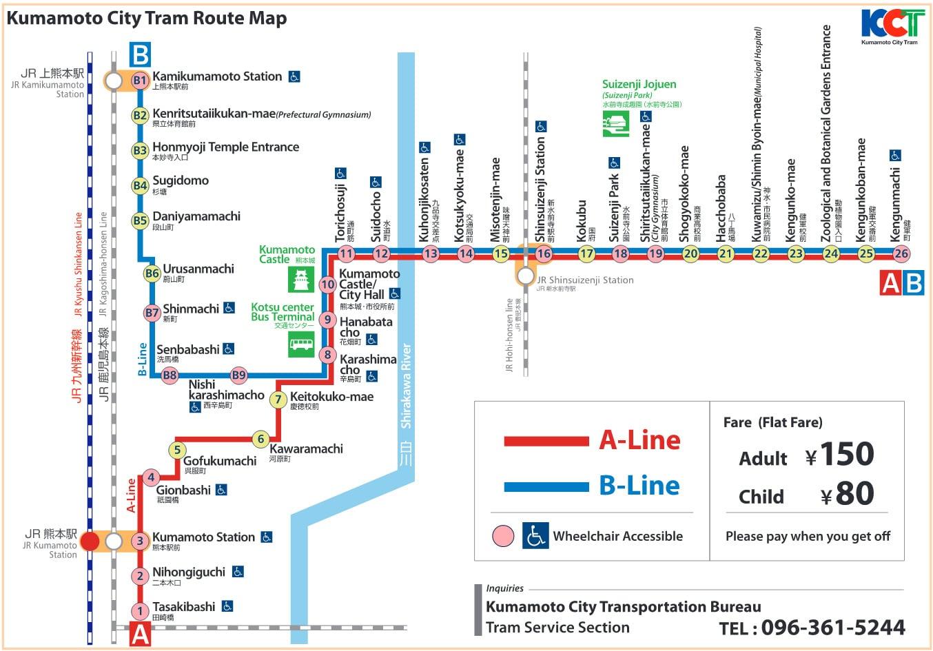 Kumamoto City Tram Map